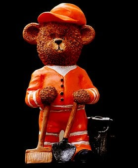 Bear, Profession, Refuse Collector, Figure, Cute, Sweet