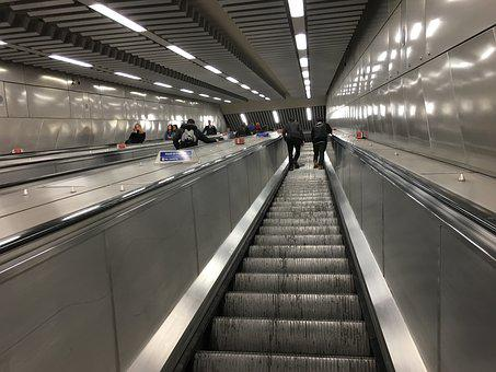 Escalator, Tube, Underground, Metro, Station, Subway