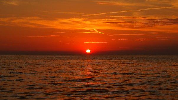 Sunset, Sky, Sun, Croatia, The Sea Separated By A Comma