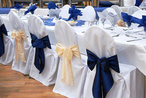 Wedding Reception, Chair, Bow, Blue, White, Decor