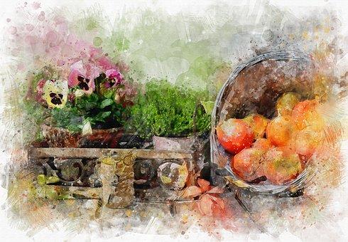 Violets, Grass, Apples, Still Life, Fruit, Summer