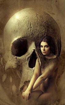 Fantasy, Skull, Woman, Composing, Book Cover, Mystical