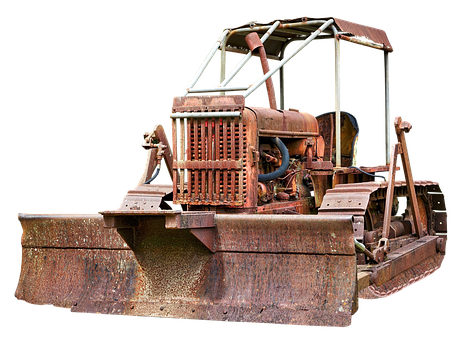 Caterpillar, Chains, Bulldozer, Old, Weathered, Rusty