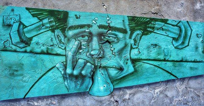 Street, Art, Graffiti, Cartoon, Character, Verona