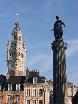 Lille, France, North, Statue, Column, Goddess, Belfry