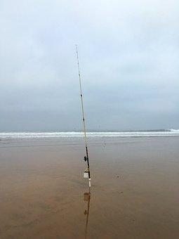 Beach, Sea, Ebb, Angel, Fish, Fishing Rod, Morocco