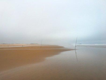 Beach, Sea, Fish, Fishing Rods, Morocco, Agadir