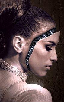 Fantasy, Portrait, Machine, Woman, Face, Beauty, Female