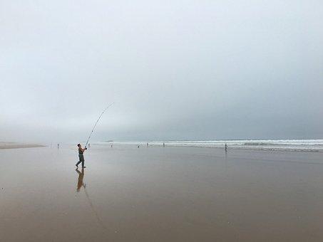 Angler, Fish, Beach, Wide, Horizon, Morocco