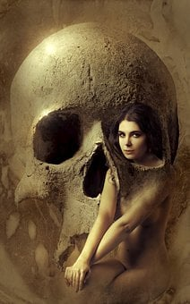 Fantasy, Skull, Woman, Composing, Book Cover, Mystical