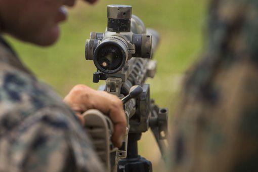 Marines, Sniper, Rifle, Aiming, Scope, Weapon, Shooting