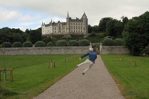 Dunrobin Castle, Inverness, Scotland, Man, Happy
