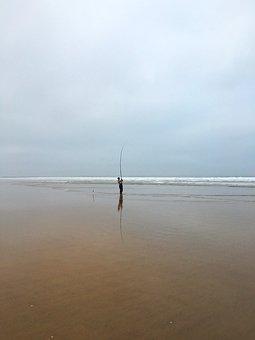 Fish, Beach, Sea, Angler, Fishing Rod, Morocco, Agadir
