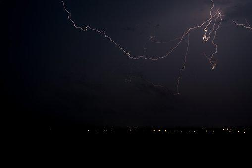 Lightning, Thunder, Night, Thunderstorm, Sky