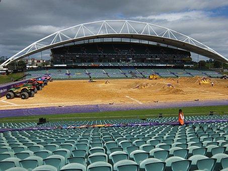 Stadium, Seat, Trucks, Monster Trucks, Empty, Sport