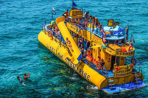 Submarine, Yellow, Boat, Tourism, Tourists, Sea