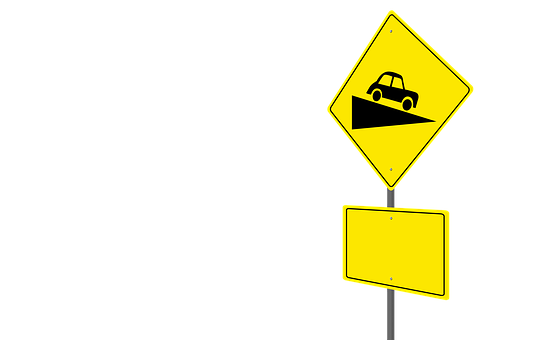 Road Sign, Steep Hill Ahead, Warning Sign, Blank Sign