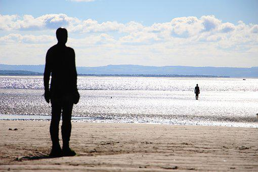 Statue, Crosby Beach, Beach, Sea, Crosby, Sand, Gormley