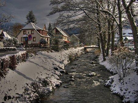 Black Forest, Village, Bach, Glottertal, House, Snow