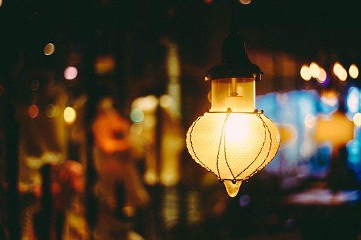 Lamp, Cafe, Large Aperture, Festival, Blur
