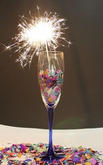 Champagne Glass, Sparkler, Confetti, Prost, Carnival