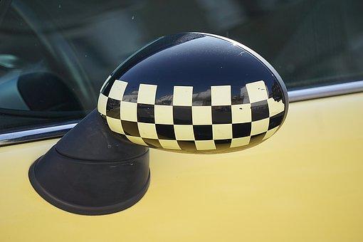 Car, Rear View Mirror, Checkerboard, Black, Yellow