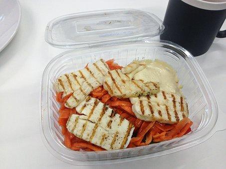 Halloumi, Salad, Takeaway, Carrot, Cheese, Onion