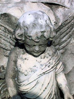 Oakwood Cemetery, Cherub, Statue Angel, Cemetery