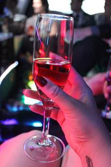 Champagne, Champagne Glass, Colorful Lights