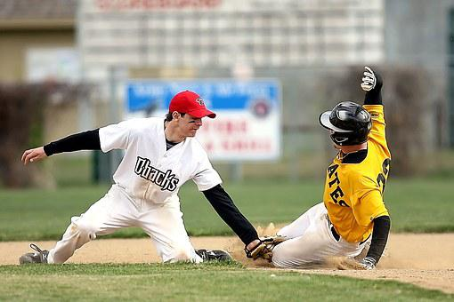 Baseball, Slide, Second Base, Player, Game, Competition
