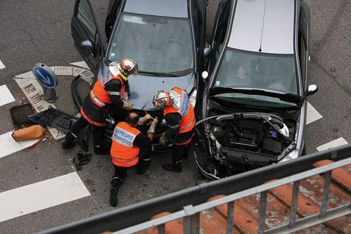 Firefighter, Cars, Accident, Hood, Crossroads