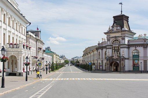 Kazan, City, Street, Crosswalk, Empty Street, At Home