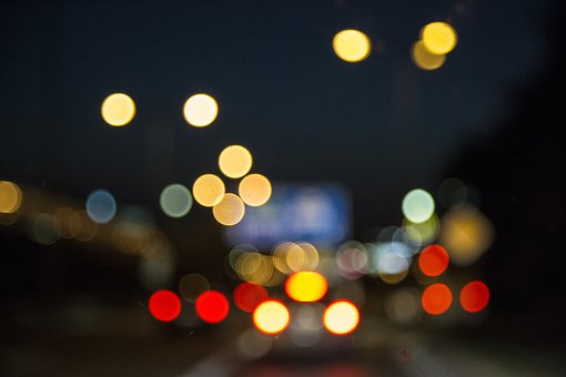 Night, Lights, City, Town, Evening, Dark, Bokeh, Blur