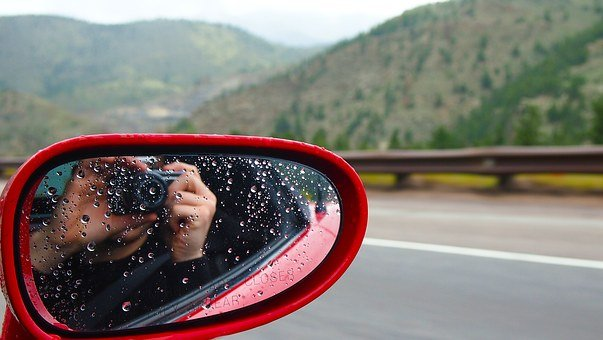 Driving, Camera In Mirror