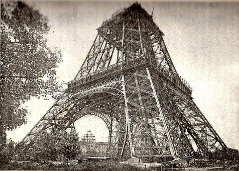 Eiffel Tower Under Construction, July 1888, Paris