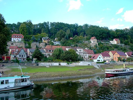 Elbe, River, Ship, City Wehlen, Ruin, Castle Wehlen