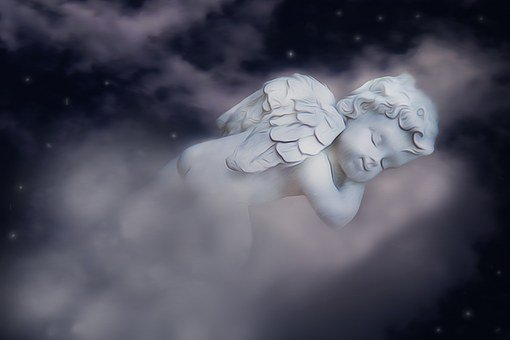 Little Angel, Engle, Fig, Sleeping, Cherub, Clouds, Sky