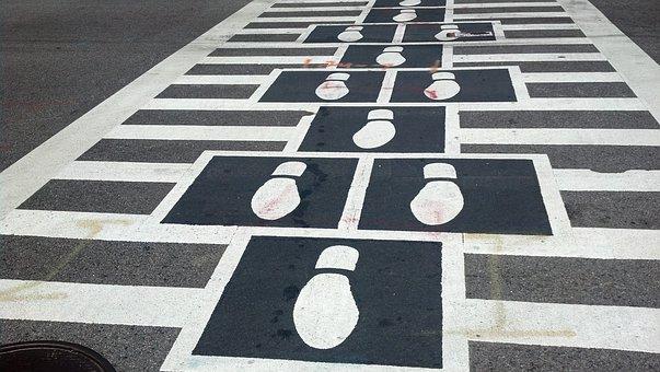 Crosswalk, Footprints, Pedestrian, Traffic, Crossing