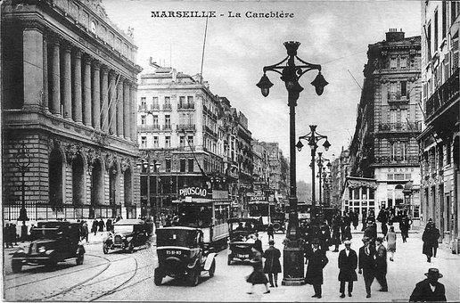 Marseille, The Canebière, France, Old Postcard, Tram