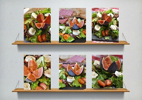 Salad, Figs, Cheese, Goat Cheese, Mixed Salad, Collage