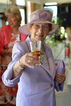 Lady, Cheers, Drink, Wedding, Reception, Hat, Happy