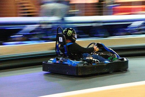 Racing, Indoor, Go-kart, Motion Blur
