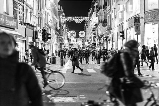 People, Crowd, Busy, Streets, Crosswalk, Buildings