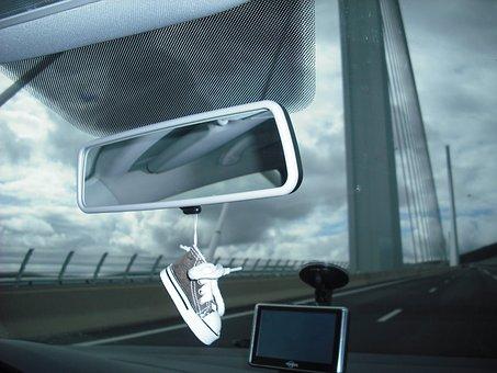 Car, Pont Millau, Rear View Mirror