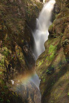 Waterfall, Blurred, Rainbow, Smooth, Motion Blur