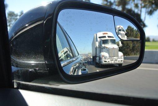 Rear View Mirror, Driving, Truck, Rear View