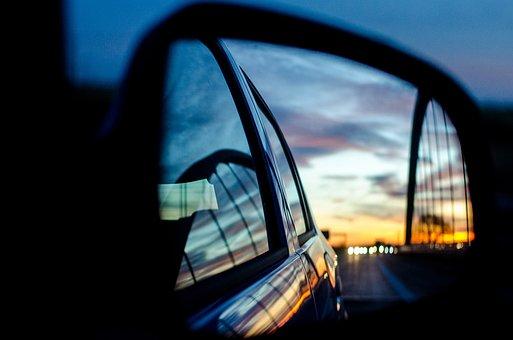Rear Mirror, Mirrors, Mirror, Sunset, Road, Highway