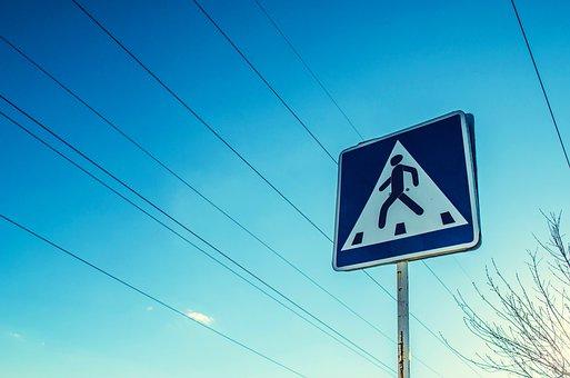 Road Sign, Roadsign, Crosswalk, Pedestrians, Road, Sign