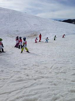 Skiing, Children, Runway, Snowy, Beginner Course
