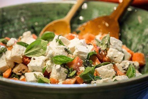 Salad, Feta Cheese, Healthy, Basil, Delicious, Eat